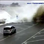 Inondations en Bretagne : une vague emporte une voiture