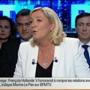 BFM Politique: L'interview BFM Business, Marine Le Pen répond aux questions d'Hedwige Chevrillon 2/6