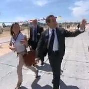 Nicolas Sarkozy arrive à Ouistreham