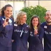 François Hollande reçoit l'équipe de France d'athlétisme