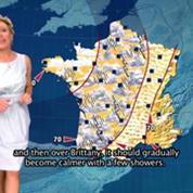 Évelyne Dhéliat présente la météo alarmante de 2050