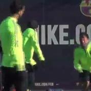 Football / L'entraînement du FC Barcelone avant d'affronter le PSG