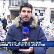 Charlie Hebdo : des anonymes continuent de se recueillir sur les lieux du drame