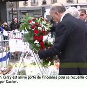 John Kerry se recueille devant le supermaché Hyper Cacher