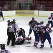 Un échauffement dégénère avant un match de Hockey au Canada