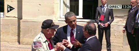 Barack Obama arrive à Bénouville avec un vétéran